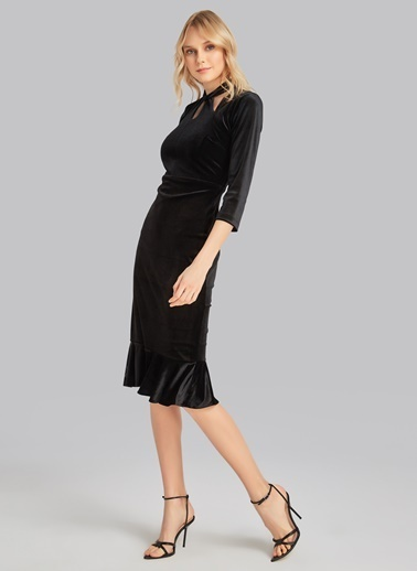People By Fabrika Yakası Düğümlü Kadife Elbise Siyah